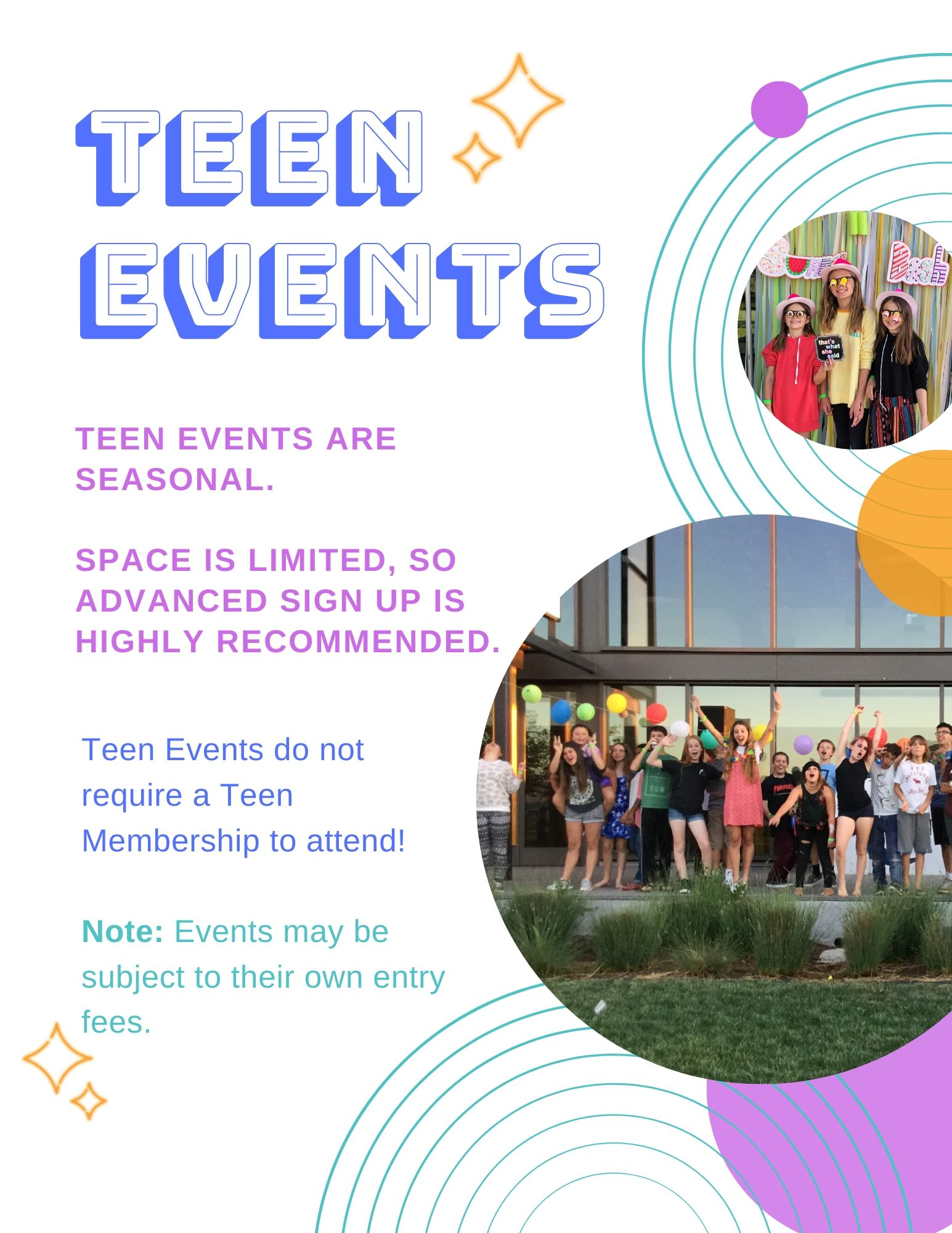 Teen Events offered seasonally